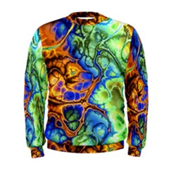 Abstract Fractal Batik Art Green Blue Brown Men s Sweatshirt