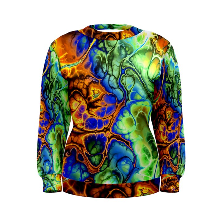 Abstract Fractal Batik Art Green Blue Brown Women s Sweatshirt