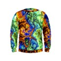 Abstract Fractal Batik Art Green Blue Brown Kids  Sweatshirt View1