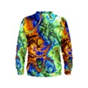 Abstract Fractal Batik Art Green Blue Brown Kids  Sweatshirt View2