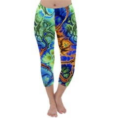 Abstract Fractal Batik Art Green Blue Brown Capri Winter Leggings