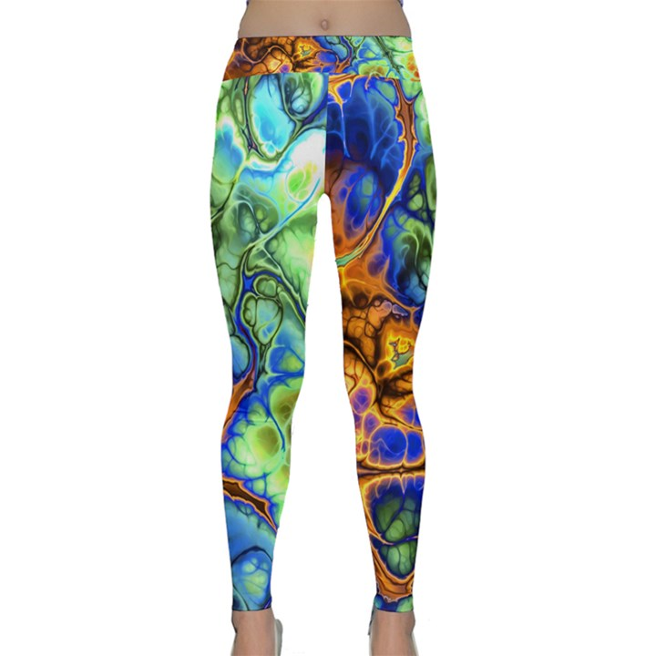 Abstract Fractal Batik Art Green Blue Brown Yoga Leggings