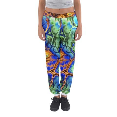 Abstract Fractal Batik Art Green Blue Brown Women s Jogger Sweatpants