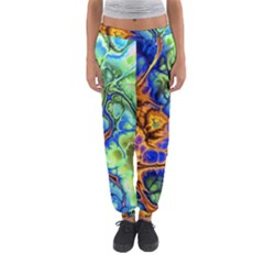Abstract Fractal Batik Art Green Blue Brown Women s Jogger Sweatpants