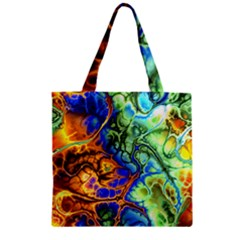 Abstract Fractal Batik Art Green Blue Brown Zipper Grocery Tote Bag