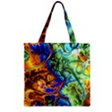 Abstract Fractal Batik Art Green Blue Brown Zipper Grocery Tote Bag View1