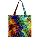 Abstract Fractal Batik Art Green Blue Brown Zipper Grocery Tote Bag View2