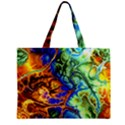 Abstract Fractal Batik Art Green Blue Brown Zipper Mini Tote Bag View2