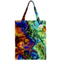 Abstract Fractal Batik Art Green Blue Brown Zipper Classic Tote Bag View1