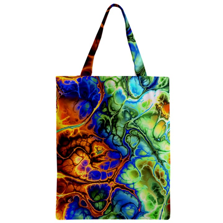 Abstract Fractal Batik Art Green Blue Brown Zipper Classic Tote Bag