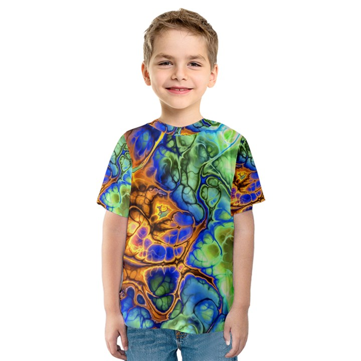 Abstract Fractal Batik Art Green Blue Brown Kids  Sport Mesh Tee