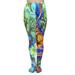 Abstract Fractal Batik Art Green Blue Brown Women s Tights