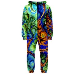 Abstract Fractal Batik Art Green Blue Brown Hooded Jumpsuit (Ladies)