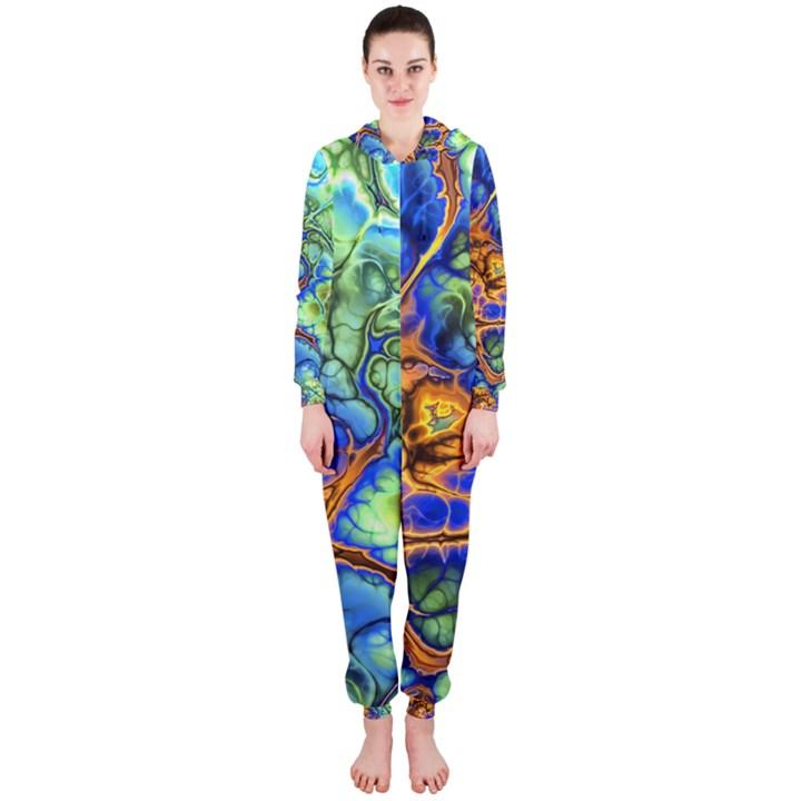 Abstract Fractal Batik Art Green Blue Brown Hooded Jumpsuit (Ladies)