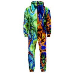 Abstract Fractal Batik Art Green Blue Brown Hooded Jumpsuit (Men)
