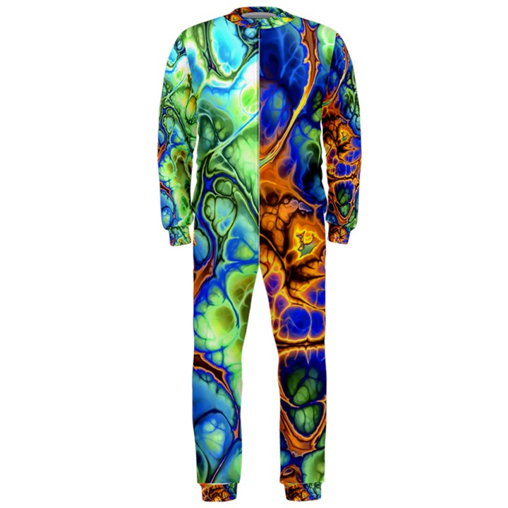 Abstract Fractal Batik Art Green Blue Brown OnePiece Jumpsuit (Men)