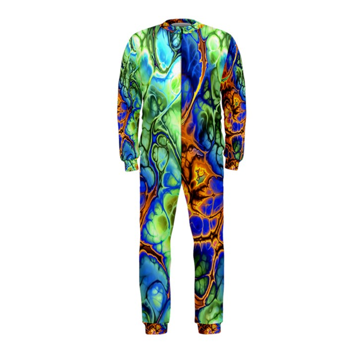 Abstract Fractal Batik Art Green Blue Brown OnePiece Jumpsuit (Kids)