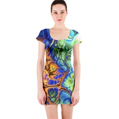 Abstract Fractal Batik Art Green Blue Brown Short Sleeve Bodycon Dress