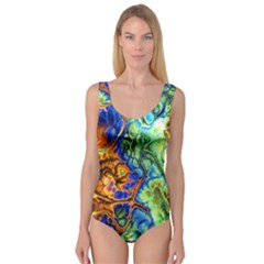 Abstract Fractal Batik Art Green Blue Brown Princess Tank Leotard