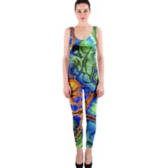 Abstract Fractal Batik Art Green Blue Brown OnePiece Catsuit