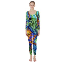 Abstract Fractal Batik Art Green Blue Brown Long Sleeve Catsuit