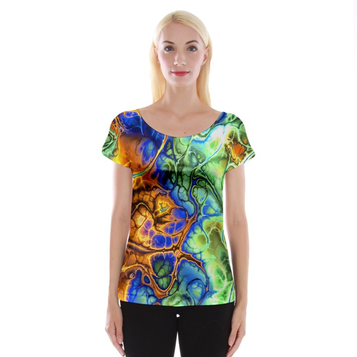 Abstract Fractal Batik Art Green Blue Brown Women s Cap Sleeve Top
