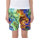 Abstract Fractal Batik Art Green Blue Brown Women s Basketball Shorts View1
