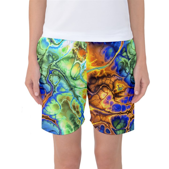 Abstract Fractal Batik Art Green Blue Brown Women s Basketball Shorts