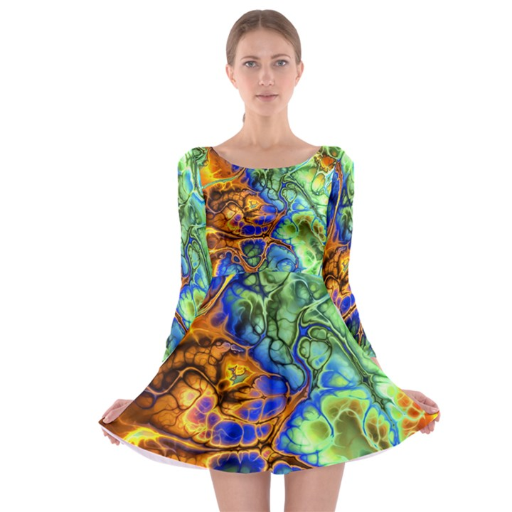 Abstract Fractal Batik Art Green Blue Brown Long Sleeve Skater Dress