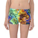 Abstract Fractal Batik Art Green Blue Brown Boyleg Bikini Bottoms View1