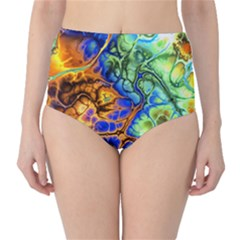 Abstract Fractal Batik Art Green Blue Brown High-Waist Bikini Bottoms