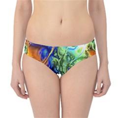 Abstract Fractal Batik Art Green Blue Brown Hipster Bikini Bottoms