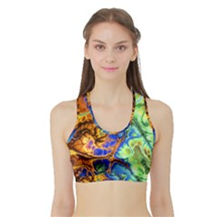Abstract Fractal Batik Art Green Blue Brown Sports Bra With Border