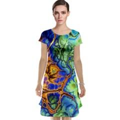 Abstract Fractal Batik Art Green Blue Brown Cap Sleeve Nightdress