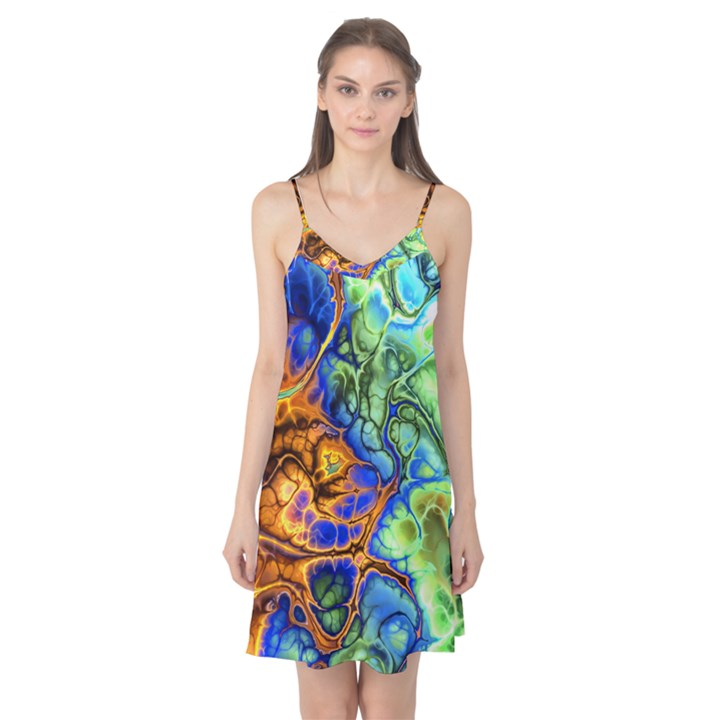 Abstract Fractal Batik Art Green Blue Brown Camis Nightgown