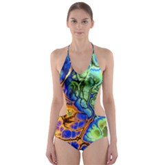 Abstract Fractal Batik Art Green Blue Brown Cut-Out One Piece Swimsuit