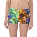 Abstract Fractal Batik Art Green Blue Brown Reversible Boyleg Bikini Bottoms View1