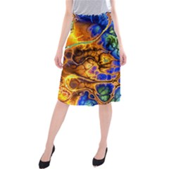Abstract Fractal Batik Art Green Blue Brown Midi Beach Skirt