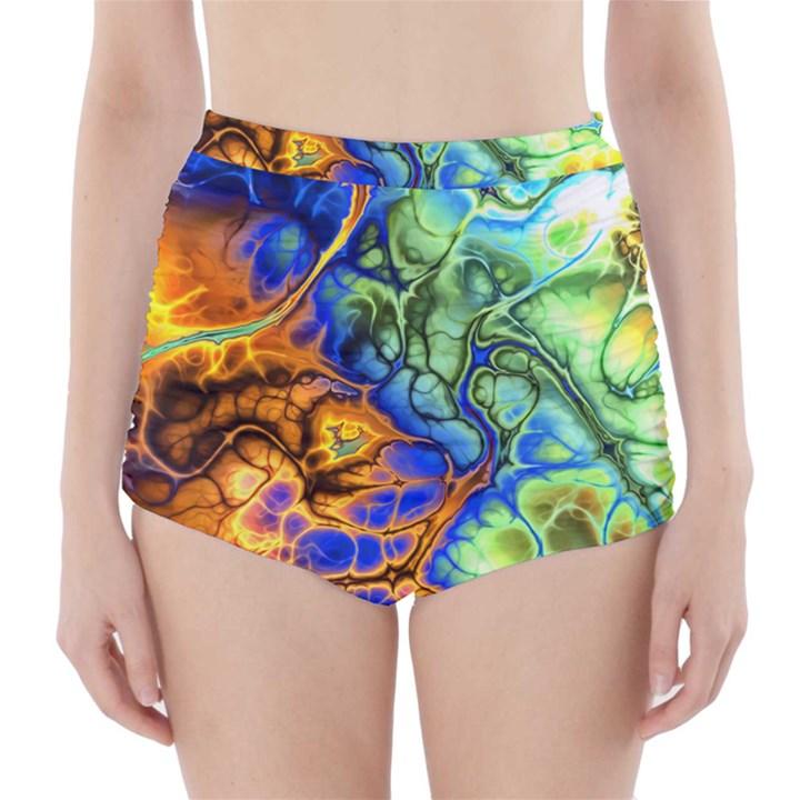 Abstract Fractal Batik Art Green Blue Brown High-Waisted Bikini Bottoms