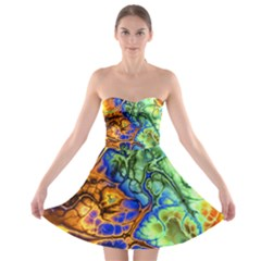 Abstract Fractal Batik Art Green Blue Brown Strapless Bra Top Dress