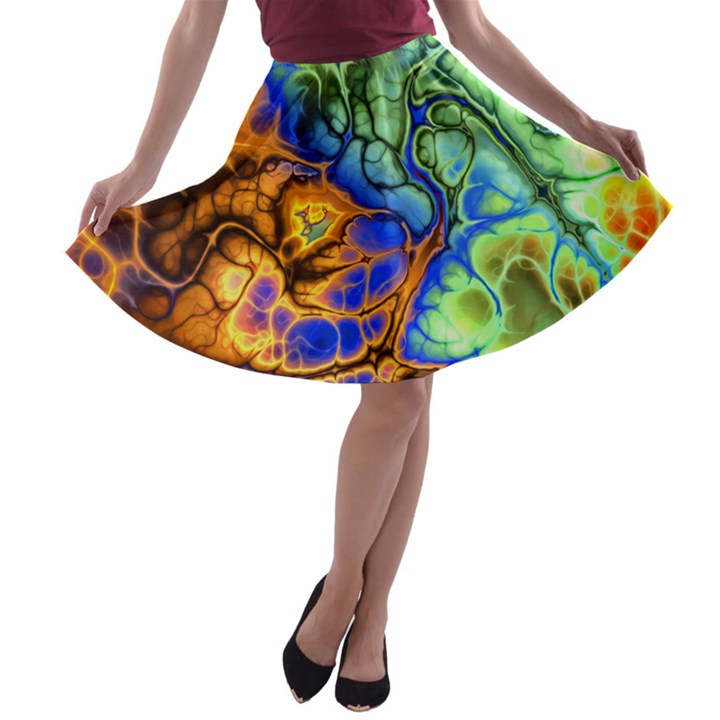 Abstract Fractal Batik Art Green Blue Brown A-line Skater Skirt