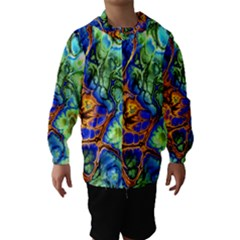 Abstract Fractal Batik Art Green Blue Brown Hooded Wind Breaker (Kids)