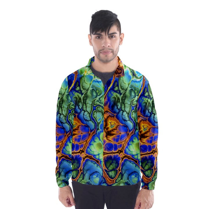 Abstract Fractal Batik Art Green Blue Brown Wind Breaker (Men)
