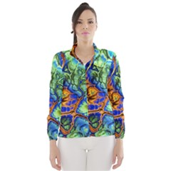 Abstract Fractal Batik Art Green Blue Brown Wind Breaker (Women)