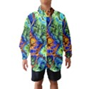 Abstract Fractal Batik Art Green Blue Brown Wind Breaker (Kids) View1