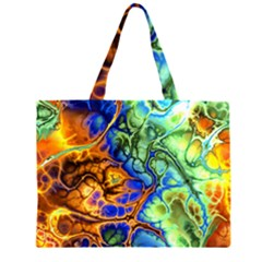 Abstract Fractal Batik Art Green Blue Brown Large Tote Bag