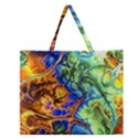 Abstract Fractal Batik Art Green Blue Brown Zipper Large Tote Bag View1