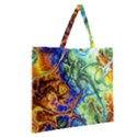 Abstract Fractal Batik Art Green Blue Brown Zipper Large Tote Bag View2