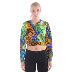 Abstract Fractal Batik Art Green Blue Brown Women s Cropped Sweatshirt