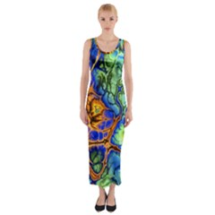 Abstract Fractal Batik Art Green Blue Brown Fitted Maxi Dress